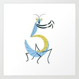 5 is for Praying Mantis Art Print