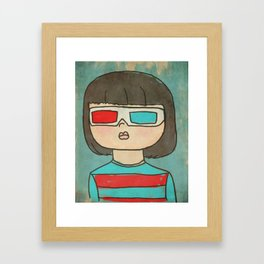 In 3d - Quirky Hand Drawn San Jones Illustration of girl in retro 3d glasses Framed Art Print