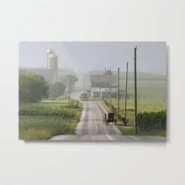 Amish Buggy confronts the Modern World Metal Print