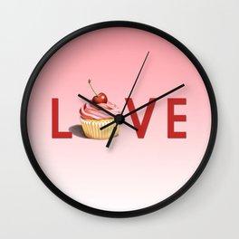 Pink Cupcake LOVE Wall Clock