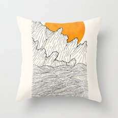 The great sun over the sea cliffs Throw Pillow