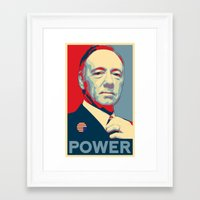 frank underwood Framed Art Prints featuring House of Cards - Frank Underwood - Hope/Power Poster by RobHansen