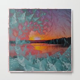 WAVE OVER SUNSET Metal Print