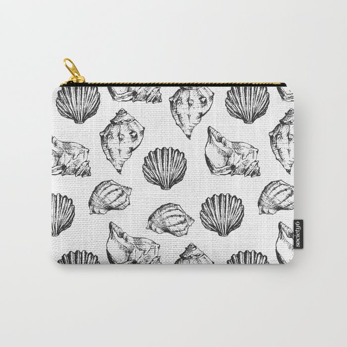 Seashells. Black and white Carry-All Pouch