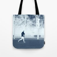 run Tote Bags featuring run by habish