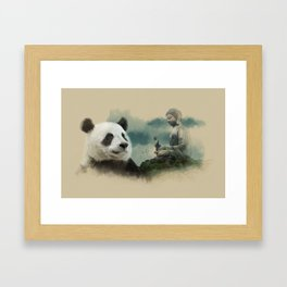Panda meditating Framed Art Print