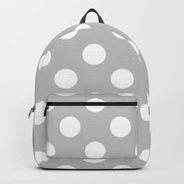 Silver sand - grey - White Polka Dots - Pois Pattern Backpack