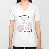 donuts V-neck T-shirts featuring Donuts by Inna Moreva