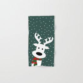 Reindeer in a snowy day (green) Hand & Bath Towel
