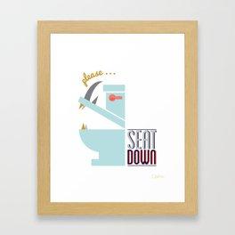 Rhino Says Seat Down! Framed Art Print