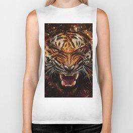 Angry Tiger Breaking Glass Yelow Biker Tank