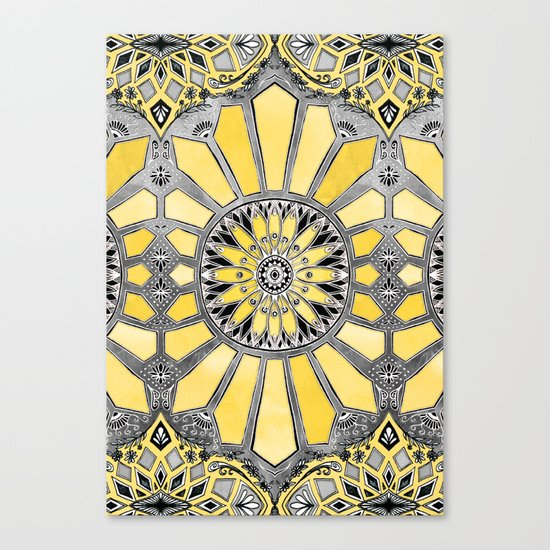 Sunny Yellow Radiant Watercolor Pattern Canvas Print