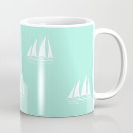 White Sailboat Pattern on seafoam blue background Coffee Mug