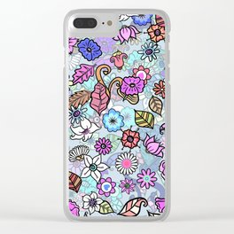 Chic Blue Floral Clear iPhone Case