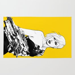 Arbitrary - Badass girl with gun in comic and pop art style Rug