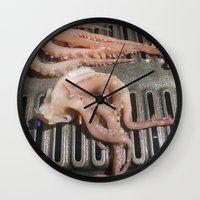 squid Wall Clocks featuring Squid by Guice Mann