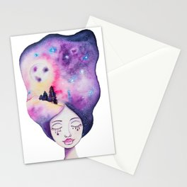 Dreaming Moonscape Whimsical Girl - Galaxy Night Sky Watercolor Stationery Cards
