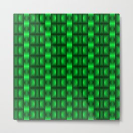 Fashionable large floral from small green intersecting squares in stripes dark cage. Metal Print