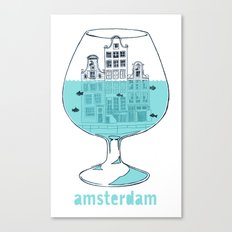 Amsterdam in a glass Canvas Print