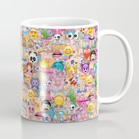 emoji Mugs featuring emoji / emoticons by Marta Olga Klara