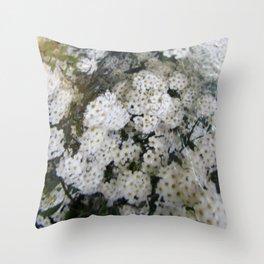 White Spirea Throw Pillow