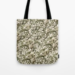 White Linen Baby's Breath Tote Bag