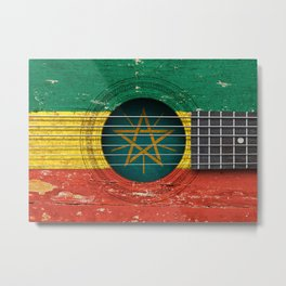 Old Vintage Acoustic Guitar with Ethiopian Flag Metal Print