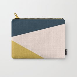 Jag 2. Minimalist Angled Color Block in Navy Blue, Blush Pink, and Mustard Yellow Carry-All Pouch