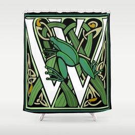 Celtic Nouveau Frog Letter W 2018 Shower Curtain