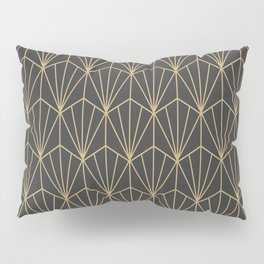 Art Deco Vector in Charcoal and Gold Pillow Sham