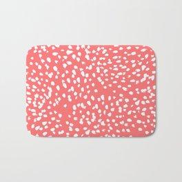 Claudia - abstract minimal coral dot polka dots painterly brushstrokes Bath Mat