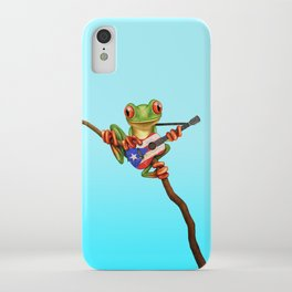 Tree Frog Playing Acoustic Guitar with Flag of Puerto Rico iPhone Case