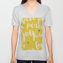 Peace & Joy Typography Yellow Background Unisex V-Neck