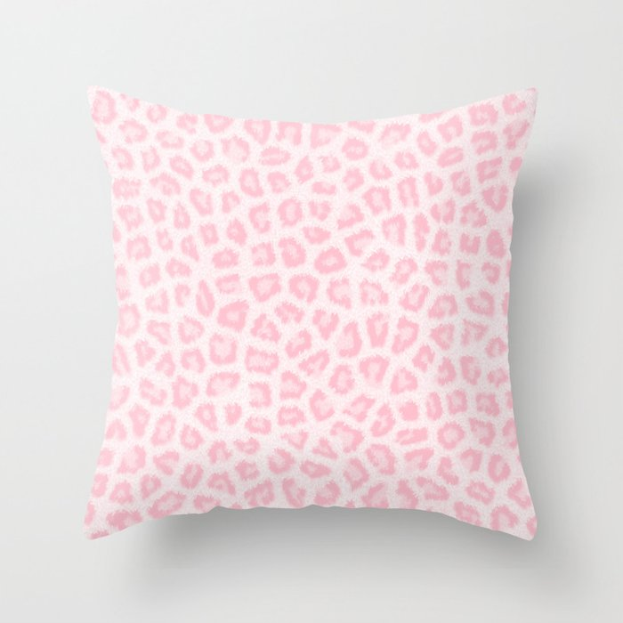 Y Blush Pink White Abstract Animal Print Throw Pillow