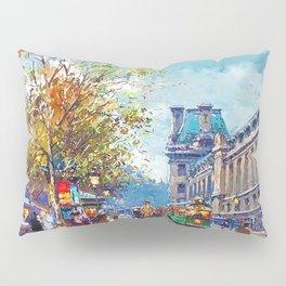 Along the Louvre, Paris, France by Antone Blanchard Pillow Sham