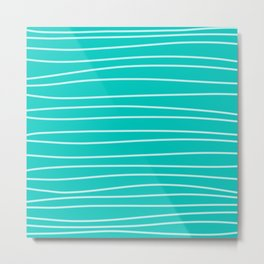 Turquoise Brush Stroke Lines Metal Print