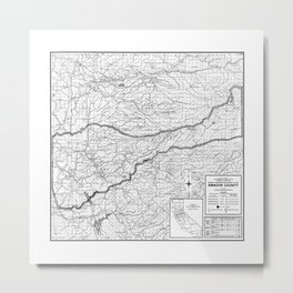Amador County California Map in B&W Metal Print