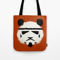 panda Tote Bags featuring Panda Trooper by Danny Haas