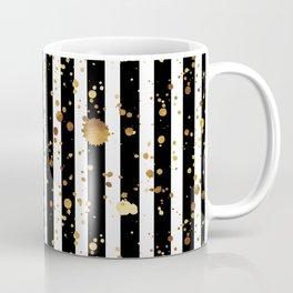 Stripes & Gold Splatter Coffee Mug