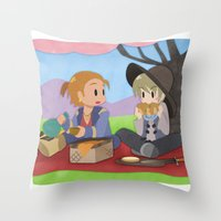 dragon age inquisition Throw Pillows featuring Dragon Age - Varric and Cole Picnic by Choco-Minto