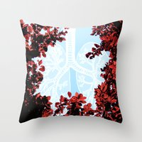 lungs Throw Pillows featuring Lungs by Keka Delso