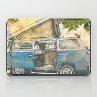 vw bus iPad Cases featuring VW Camper Bus by Barb Laskey Studio