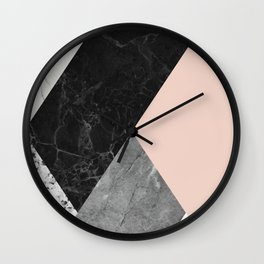Black and White Marbles and Pantone Pale Dogwood Color Wall Clock