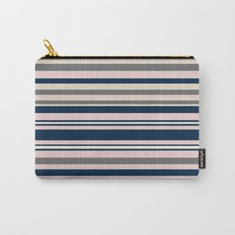 Multi Stripes in Navy Blue, Champagne Ivory Beige, Blush Pink, and Charcoal Grey Carry-All Pouch