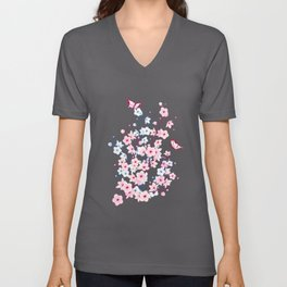 Cherry Blossoms Landscape Unisex V-Neck