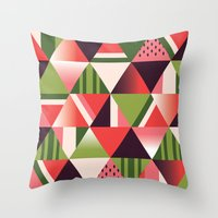 watermelon Throw Pillows featuring watermelon by Gray