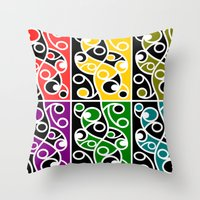 maori Throw Pillows featuring Maori Kowhaiwhai Pattern by mailboxdisco