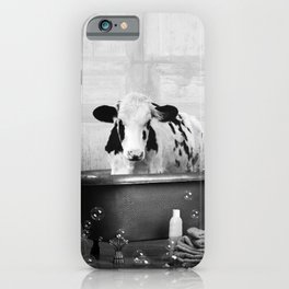 Cow with Rubber Ducky in Vintage Bathtub iPhone Case