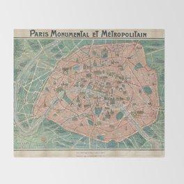 Vintage Paris Map France Throw Blanket
