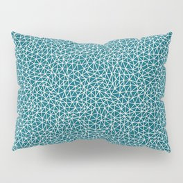 Off White Abstract Multi Sized Triangle Shape Pattern on Tropical Dark Teal Inspired by Sherwin Williams 2020 Trending Color Oceanside SW6496 Pillow Sham